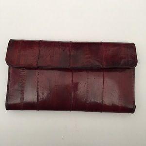Wallet Genuine Eel Skin Leather Burgundy Color